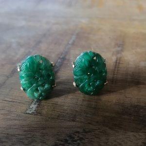 Vintage 1950s Marvella Jade Clip On Earrings
